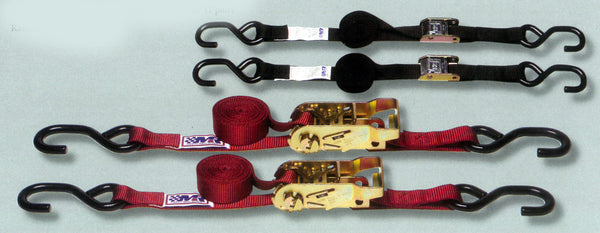 "1"" Motorcycle Tie Down Straps, Kit, ""Four Pack"" Featuring Cam & Ratchet Models"