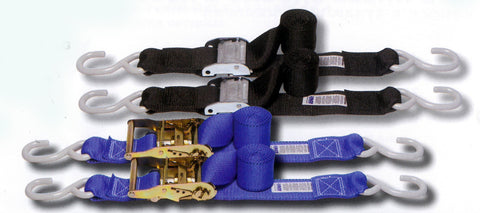 "2"" Motorcycle Tie Down Strap Kit, ""POWER FOUR PACK"" Featuring Cam and Ratchet Models"