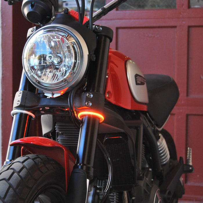 New Rage Cycles Fork Mounted Turn Signals for Ducati Scrambler