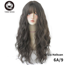Load image into Gallery viewer, 7JHH WIGS Blue Deep Wave Wig With Bangs For Women Long Omber Brown Hair Layered Heat Resistant Cosplay Party Synthetic Wig