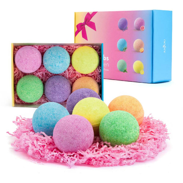 Bath Bombs 6 Pack Gift Set Pure Natural Essential Oils