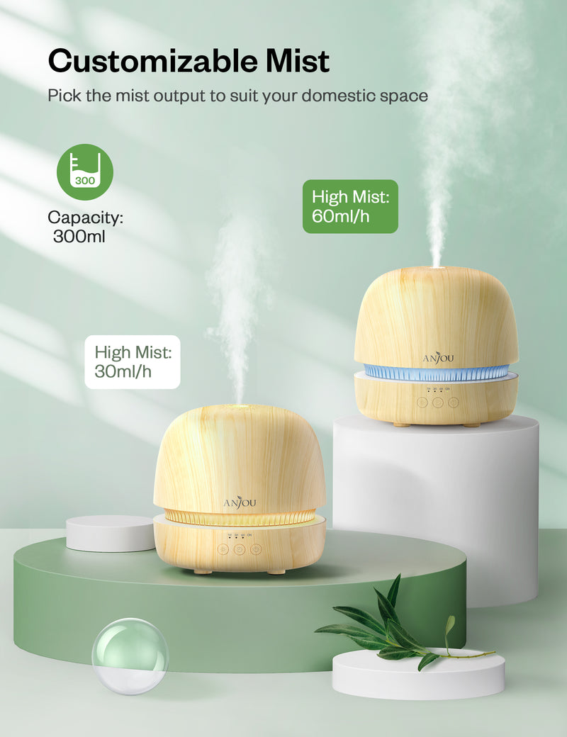 300ML Ultrasonic Aromatherapy Diffuser & Cool Mist Humidifier with Essential Oils-Anjou
