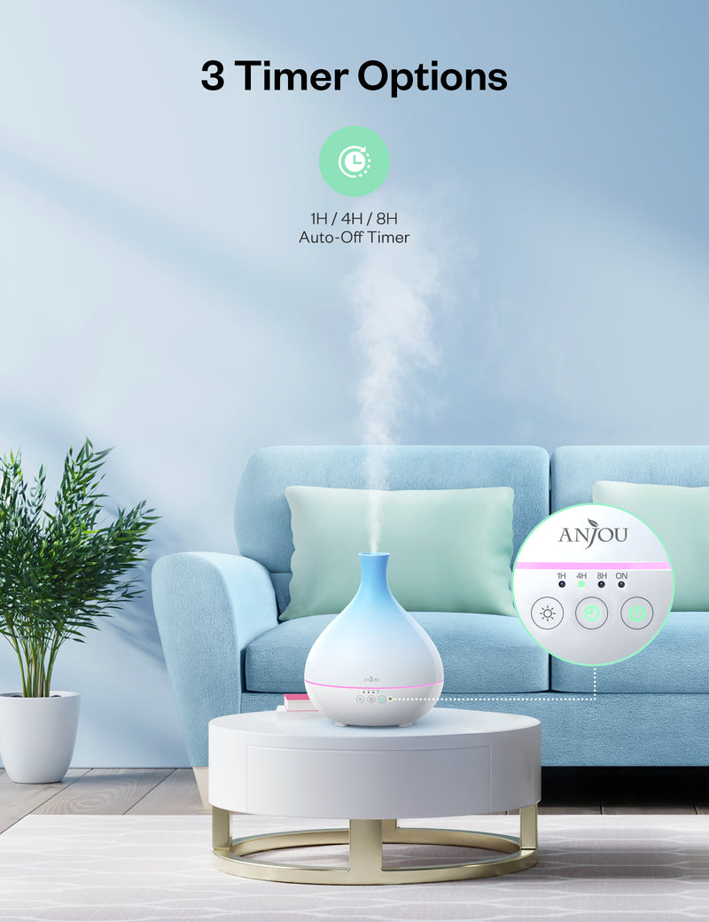 Essential Oil Diffuser 500ml Cool Mist Humidifier 12hrs Consistent Scent-Anjou