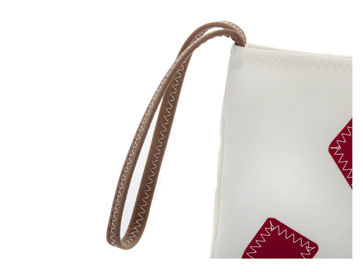 Small pouch with leather strip