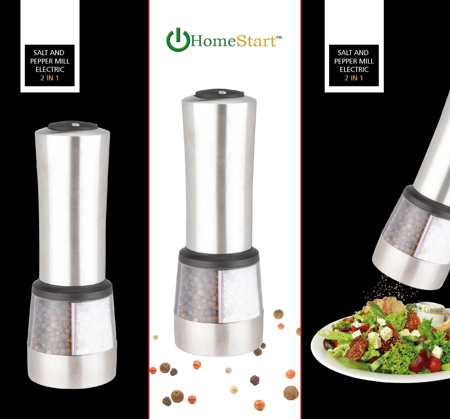 HomeStart 2 in 1 Electric Salt & Pepper Grinder Stainless Steel