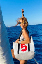 tote bag handmade from upcycled sails and nautical canvas in Italy by jm sails and bags