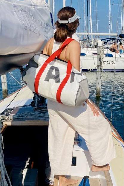 Duffel bags, unique, handcrafted from recycled sails and canvas in Italy by jm sails and bags