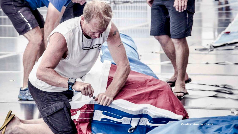 Sail repair and servicing bags during the Volvo Ocean Race, J-M Sails and Bags