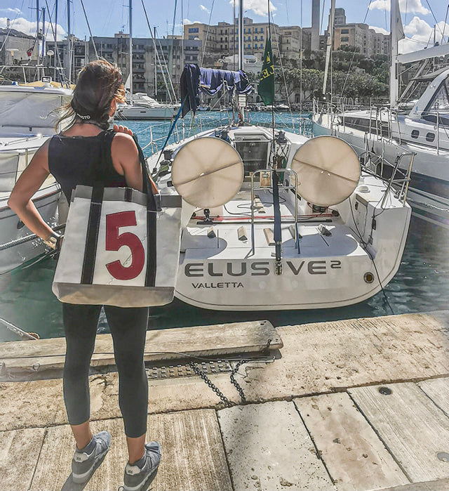 "Custom  ""Mike"" tote made for a crew member of the winning yacht Elusive 2, of the Rolex Middle Sea Race 2020."