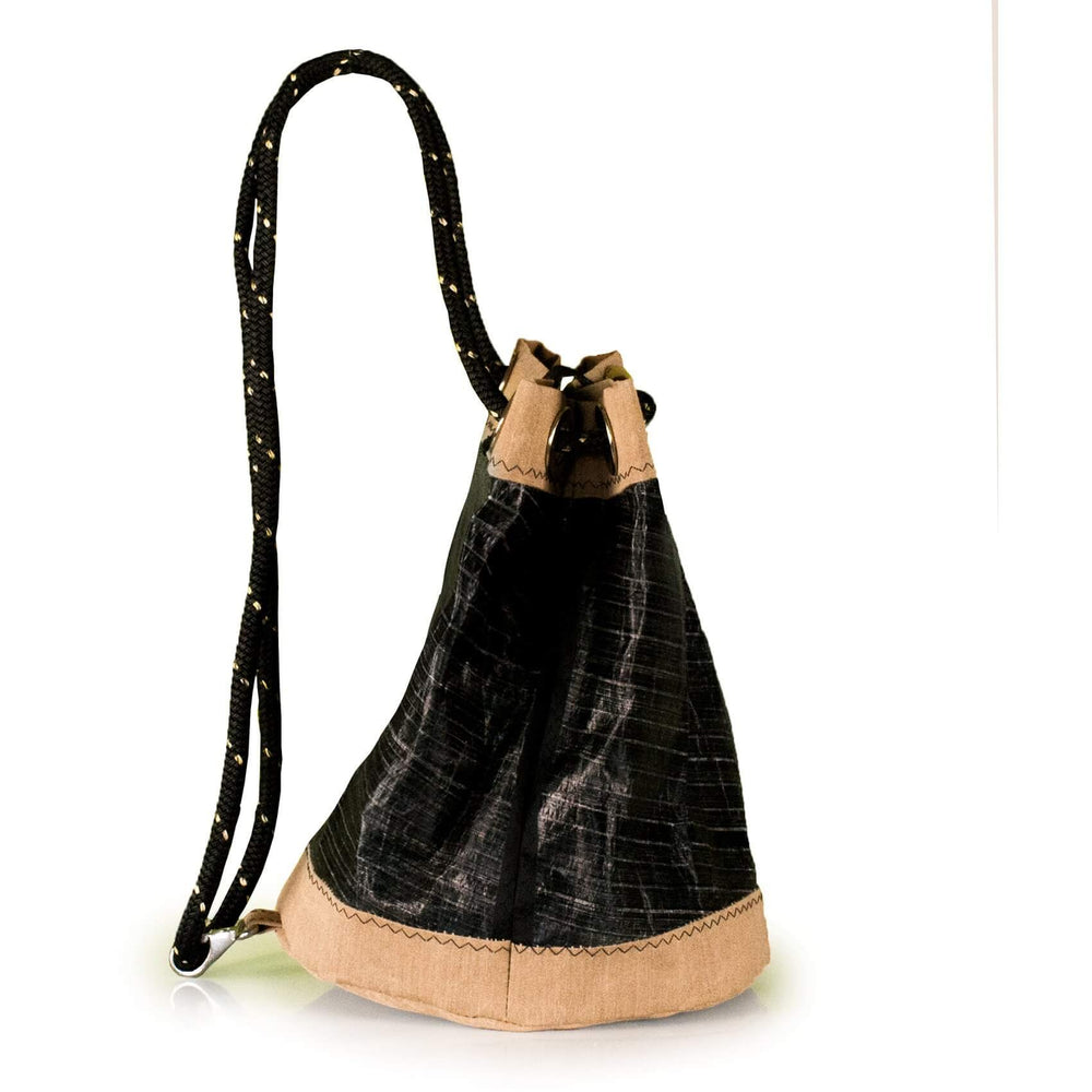 BUCKET BAG CHARLIE, 3Di carbon black and beige by JM Sails and Bags, Side