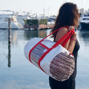 Alfa duffel bag with model, J-M Sails and Bags