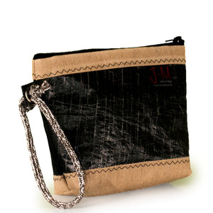 Pouch Hotel, 3Di carbon black, beige, handcrafted from upcycled sails by JM Sails and Bags