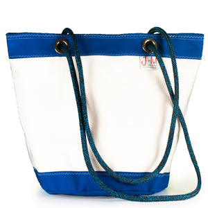 SHOULDER BAG LIMA LARGE, WHITE / BLUE BY JM SAILS AND BAGS (FS)