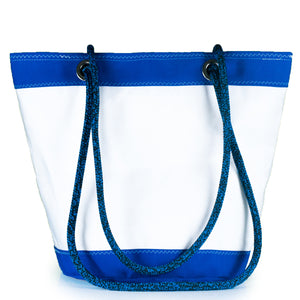 SHOULDER BAG LIMA LARGE, WHITE / BLUE BY JM SAILS AND BAGS (BS)