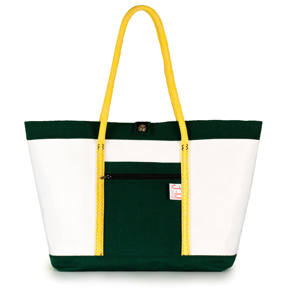Tote bag Mike, white and green (FS) J-M Sails and Bags