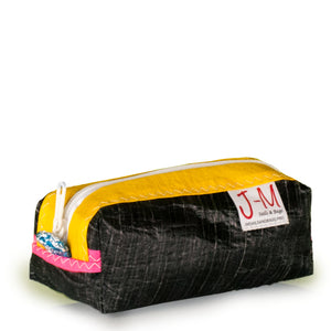 Pencil case, black, yellow handcrafted in italy from recycled sails by J-M Sails and Bags