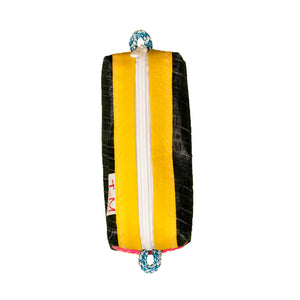 Pencil case, black, yellow handcrafted in italy from recycled sails by J-M Sails and Bags (FS)