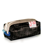 Pencil case 3Di carbon black, beige, recycled sail by JM Sails and Bags
