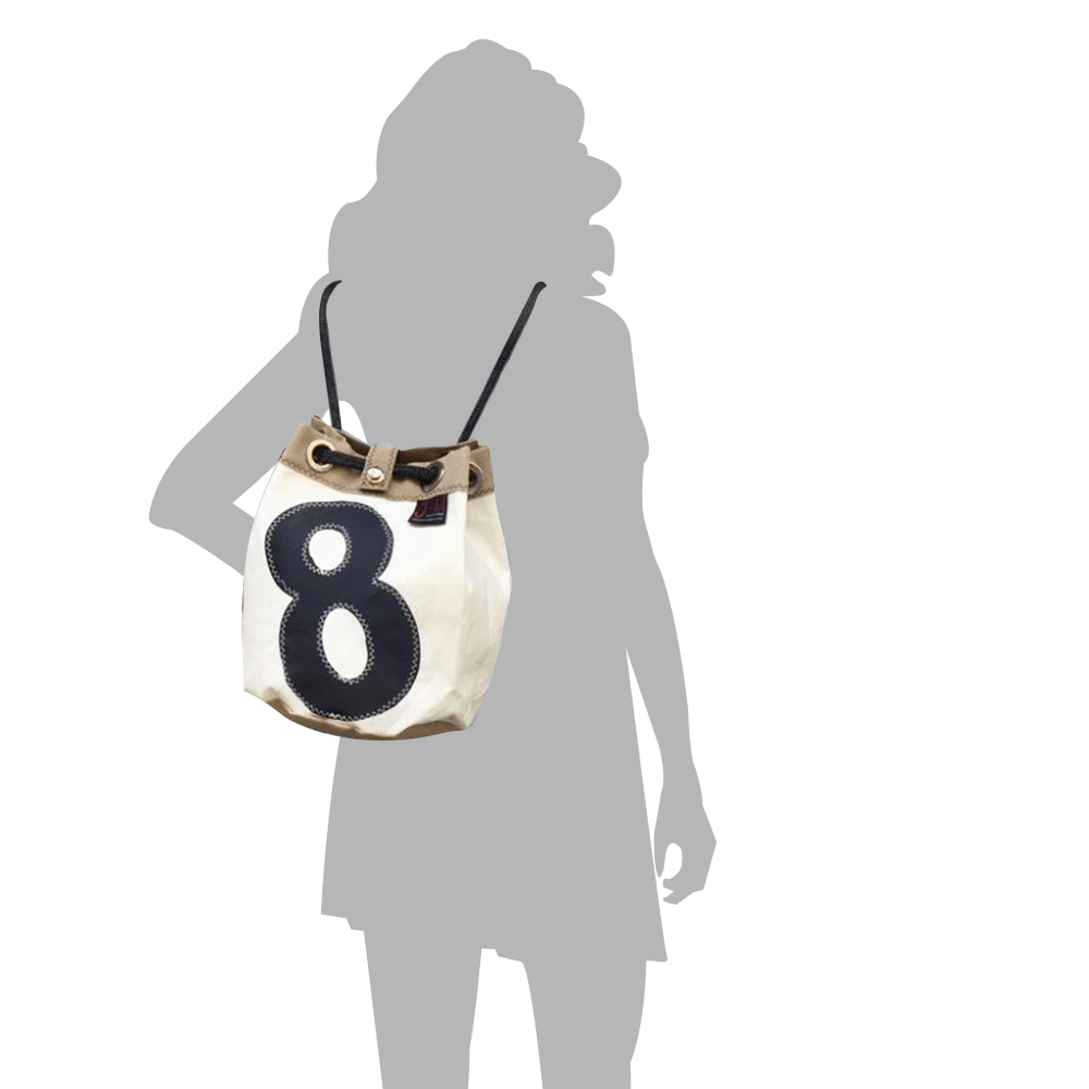 BUCKET BAG CHARLIE, white and beige by JM Sails and Bags, size model