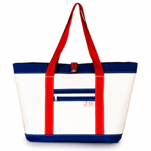 Tote Mike, white and blue (FS) J-M Sails and Bags