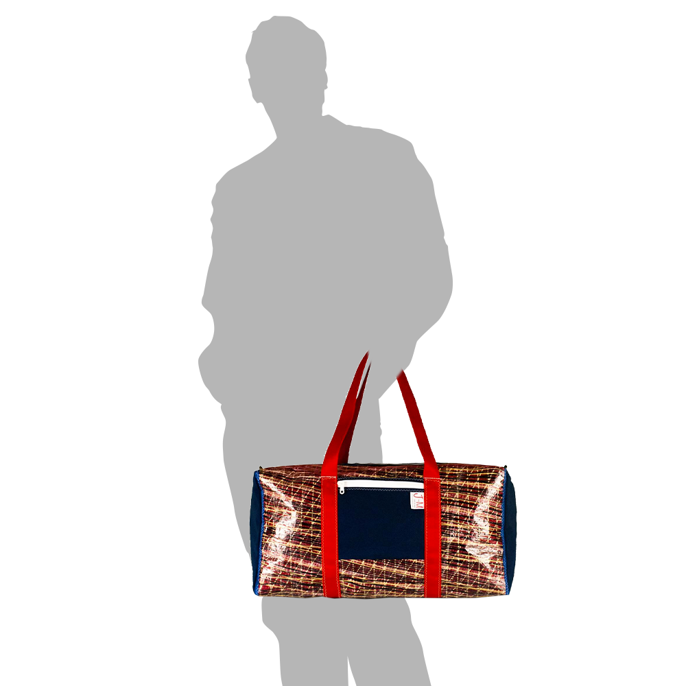 Load image into Gallery viewer, Duffel bag Bravo Large, carbon / kevlar / blue / red - JM Sails and Bags