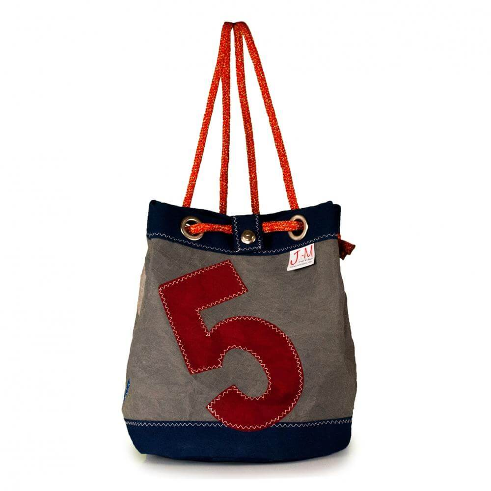 Bucket bag India, grey / blue / #5 (FS) J-M Sails and Bags