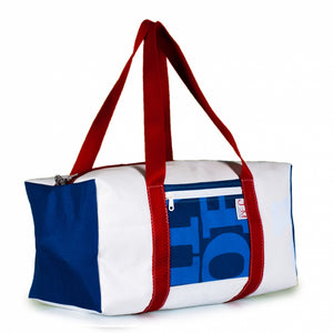 Duffel Bravo Medium. Dacron / blue #2 / grey stripe (45) J-M Sails and Bags