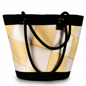 Load image into Gallery viewer, Shoulder bag Lima, patchwork / white / yellow (FS) J-M Sails and Bags