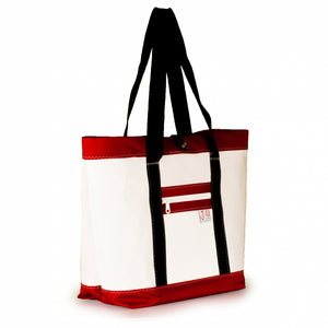 Tote Mike, white and red (45) J-M Sails and Bags
