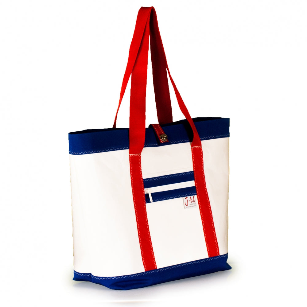 Tote Mike, white and blue (45) J-M Sails and Bags
