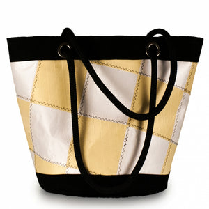 Load image into Gallery viewer, Shoulder bag Lima, patchwork / white / yellow (BS) J-M Sails and Bags
