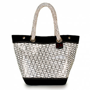 Handbag Foxtrot, carbon / black / white (FS) open J-M Sails and Bags  Edit alt text