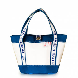 Load image into Gallery viewer, Handbag Tango white and blue (FS) J-M Sails and Bags