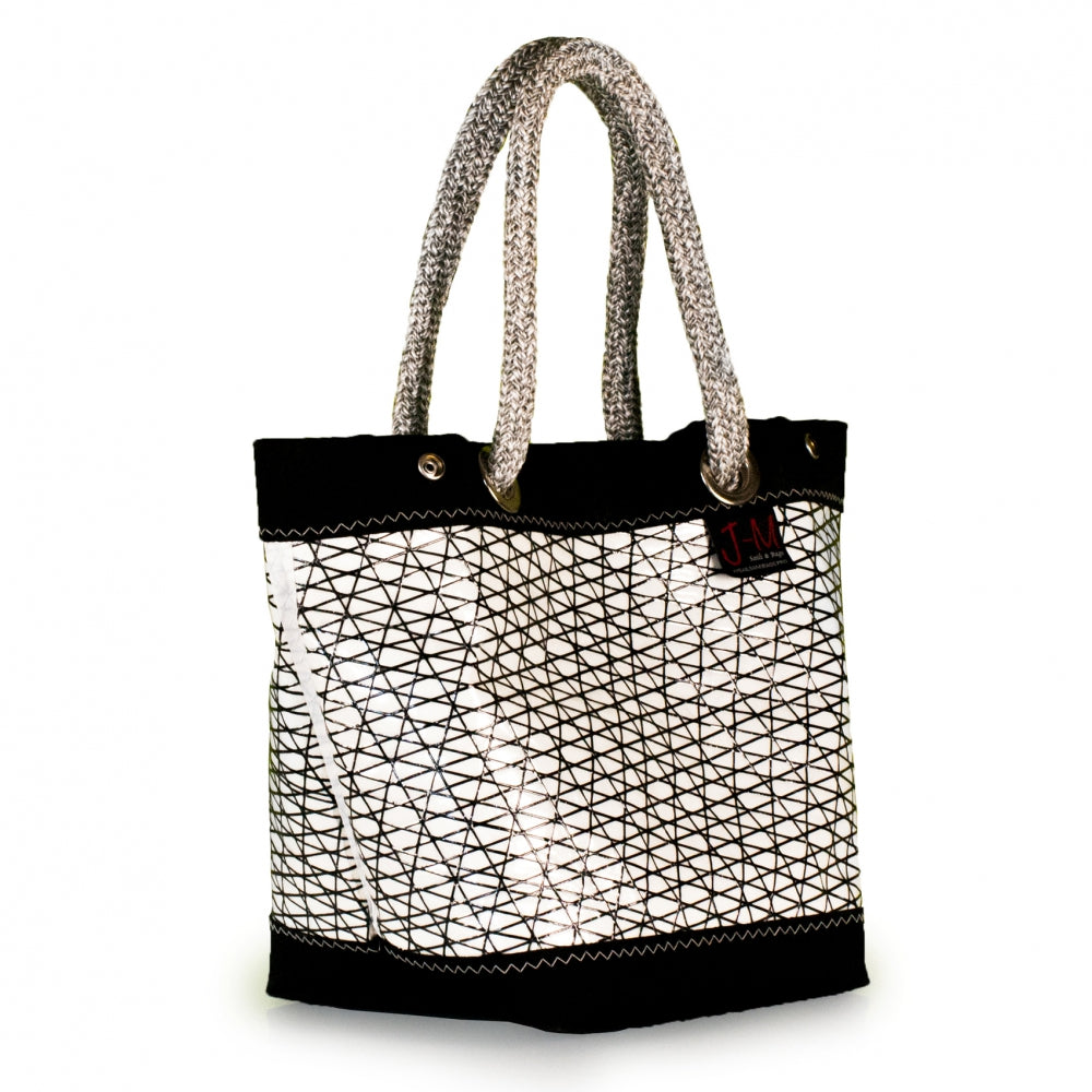 Handbag Foxtrot, carbon / black / white (45) open J-M Sails and Bags  Edit alt text