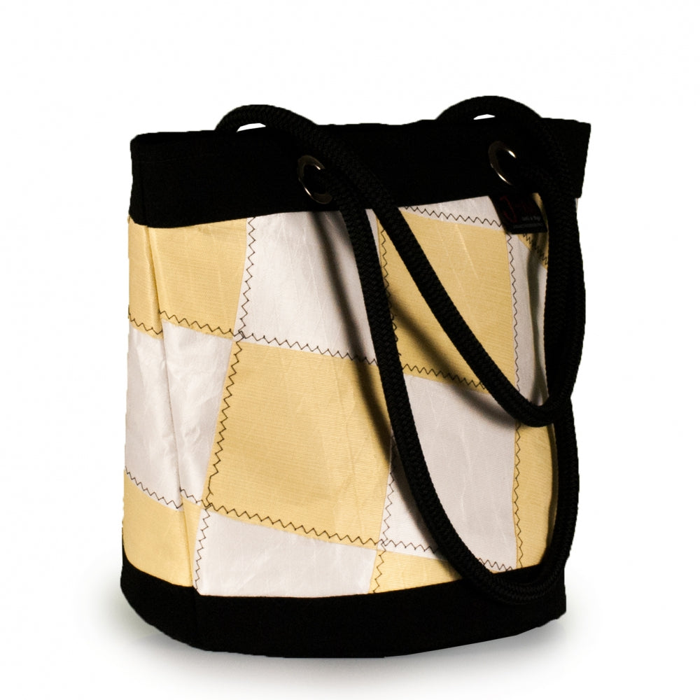 Load image into Gallery viewer, Shoulder bag Lima, patchwork / white / yellow (45) J-M Sails and Bags