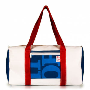 Duffel Bravo Medium. Dacron / blue #2 / grey stripe (FS) J-M Sails and Bags
