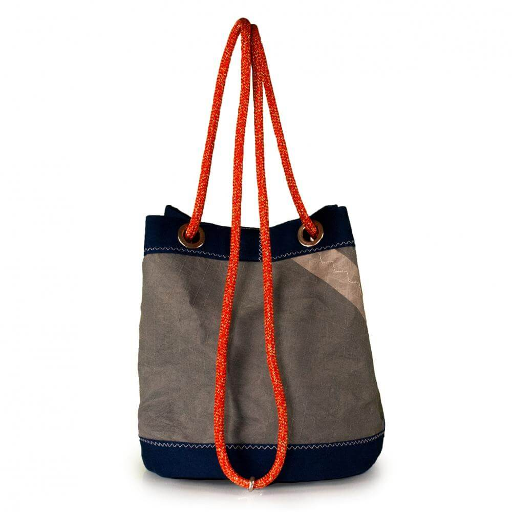 Bucket bag India, grey / blue / #5 (BS) J-M Sails and Bags  Edit alt text
