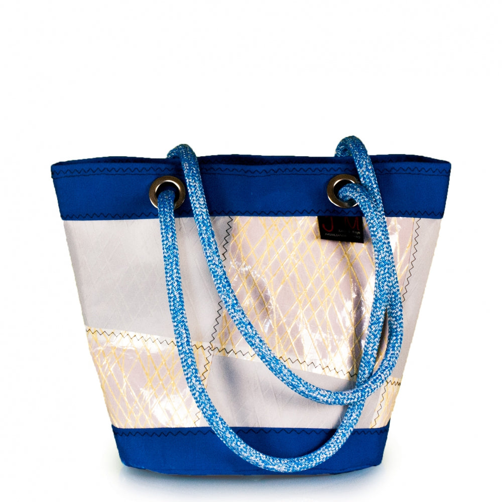 Load image into Gallery viewer, Shoulder bag Lima medium, patchwork / electric blue (FS) J-M Sails and Bags