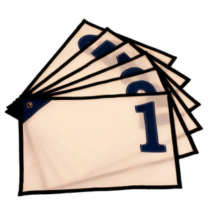 Placemats white polycote numbers 1- 6, J-M Sails and Bags