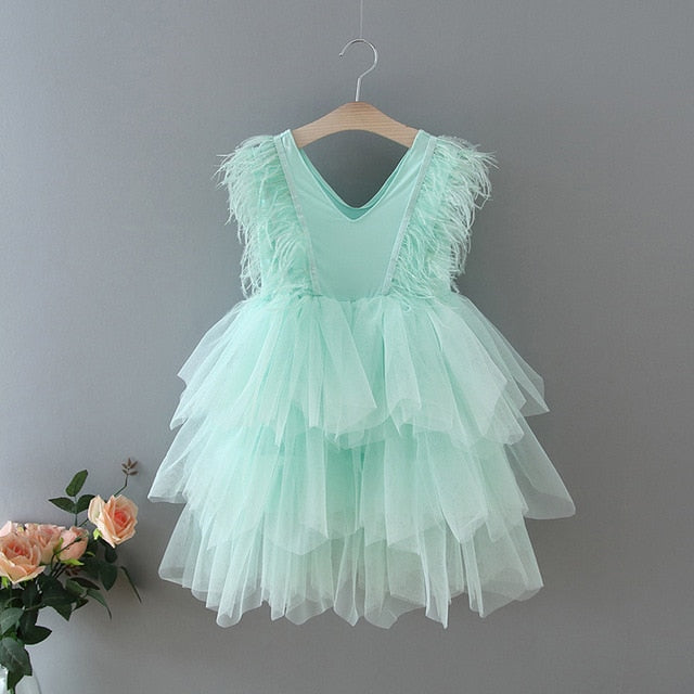 Feather Sleeve Tulle Dress