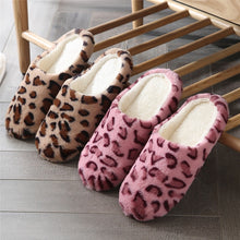 Load image into Gallery viewer, Leopard Soft Bottom Home Slippers Cotton Warm Shoes Women Indoor Floor Slippers Non-slips Shoes For Bedroom House Woman Slippers