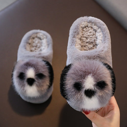 2020 New Children Cotton Shoes Kids Home Slippers Boys And Girls Baby Cute Puppy Ears Plush Ball Thickening Warm Indoor Shoes