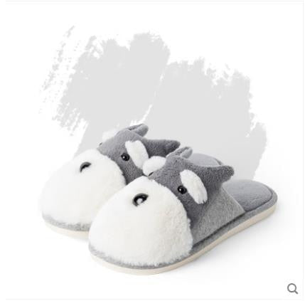 Winter Warm Man & Women Home Slippers Animal Dog Short Plush Slippers Female Non-slip Soft Cotton Indoor Shoes Lovers Slippers