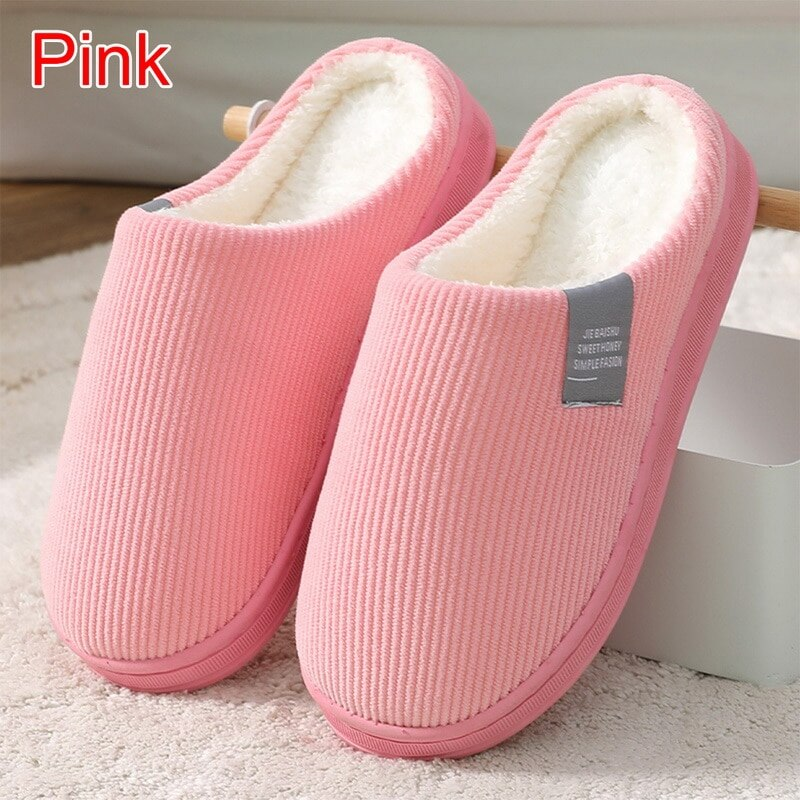 Women Slippers Winter Warm House Home Soft Non-Slip Plush Cotton Shoes Men Lovers Bedroom Ladies Girls Boys Cute Fur Slides