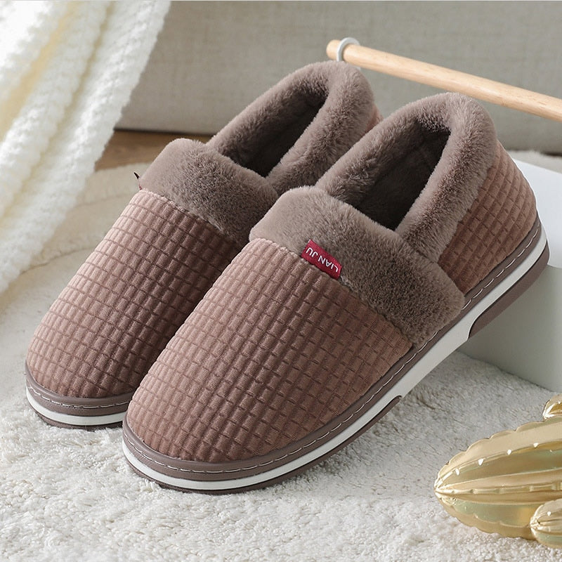 2020 Winter men's slippers Soft short plush comfort House slippers silp on cotton platform Mens slippers outdoor