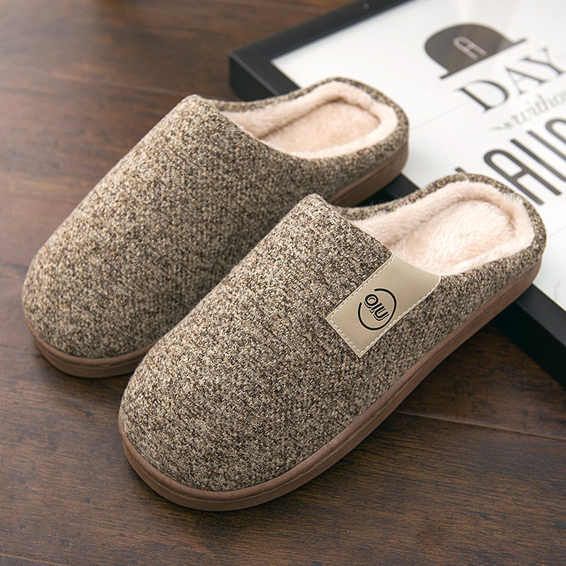 Men Winter Warm Slippers Fur Slippers Men Boys Plush Slipper Cotton Shoes Non-slip Solid Color Home Indoor Casual Slippers