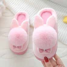 Load image into Gallery viewer, Kids Winter Slippers Boys Cartoon Rabbit Cotton Home Slippers Children's Plush Indoor Warm Shoes Bowtie Girls Princess Slippers