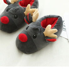 Load image into Gallery viewer, Couple Winter Soft slipper woman shoes happy new year Christmas Deer Cotton Slippers Cute Plush Cotton Shoes woman ботинки женск