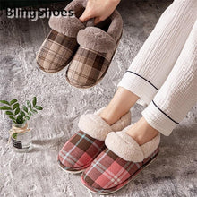 Load image into Gallery viewer, 2020 Women Slippers Plaid Thick short Plush Cotton Slippers Couple Indoor Warm Cotton Slippers couple fur Non-slip Home slides