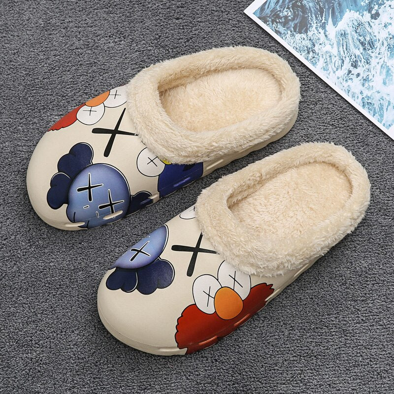 Winter Home Unisex Kids Inside Fur Slippers Beige Non-Slip Cotton Slippers Casual Shoes Couples Indoor Women Platform Slippers